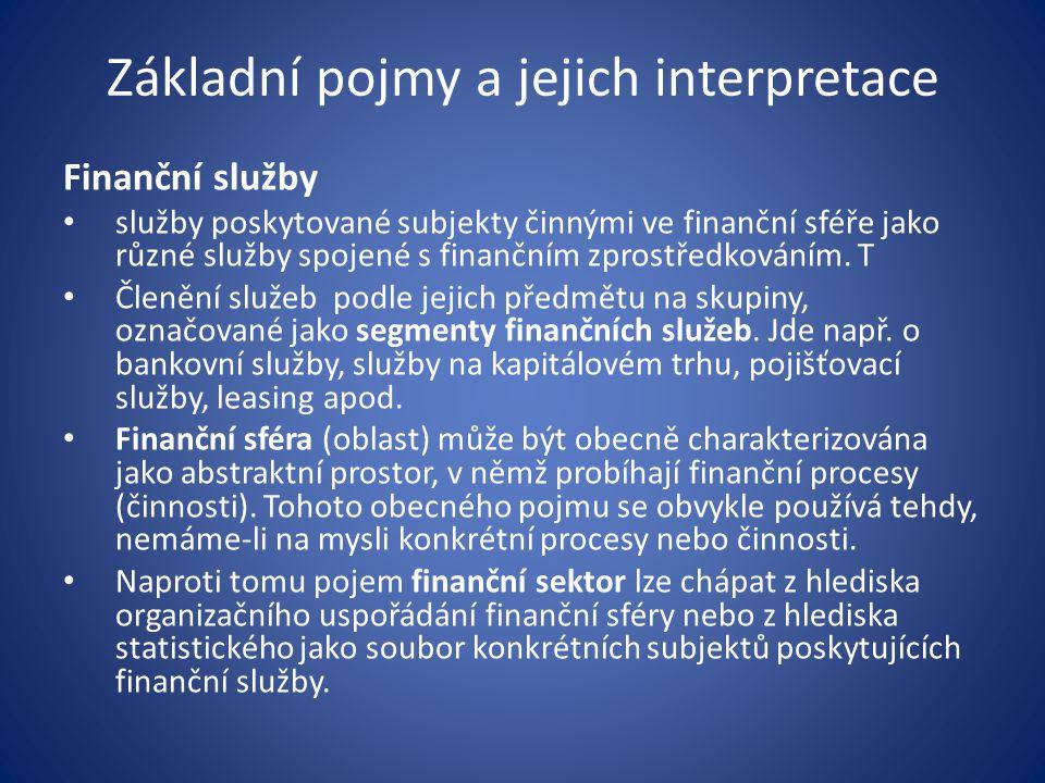 Základní pojmy a jejich interpretace Finanční služby služby poskytované subjekty činnými ve finanční sféře jako různé služby spojené s finančním zprostředkováním.