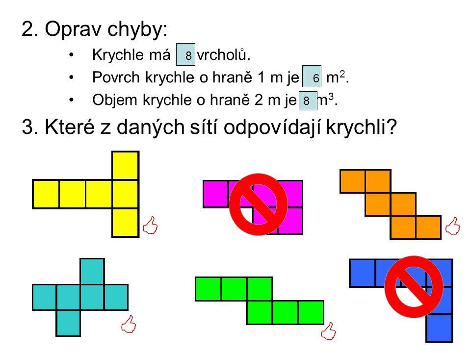 2. Oprav chyby: Krychle má 12 vrcholů. Povrch krychle o hraně 1 m je 12 m 2. Objem krychle o hraně 2 m je 6 m 3. 3. Které z daných sítí odpovídají kry