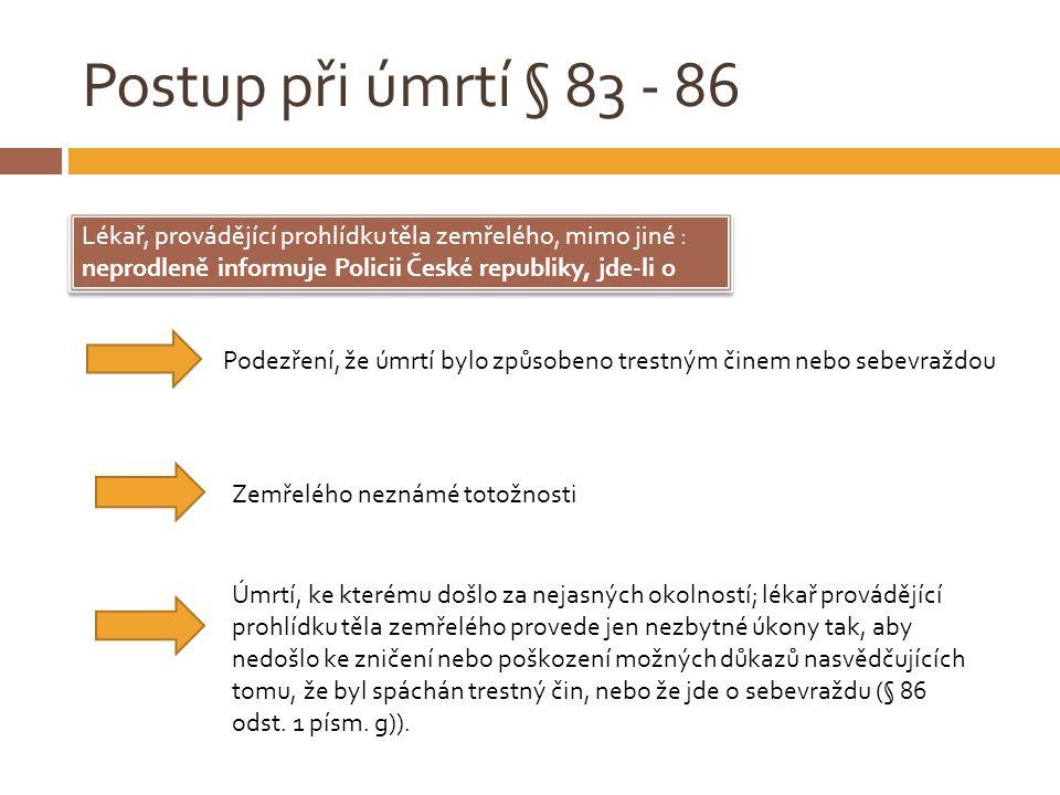 Postup při úmrtí § 83 - 86 Lékař, provádějící prohlídku těla zemřelého, mimo jiné : neprodleně informuje Policii České republiky, jde-li o Lékař, prov