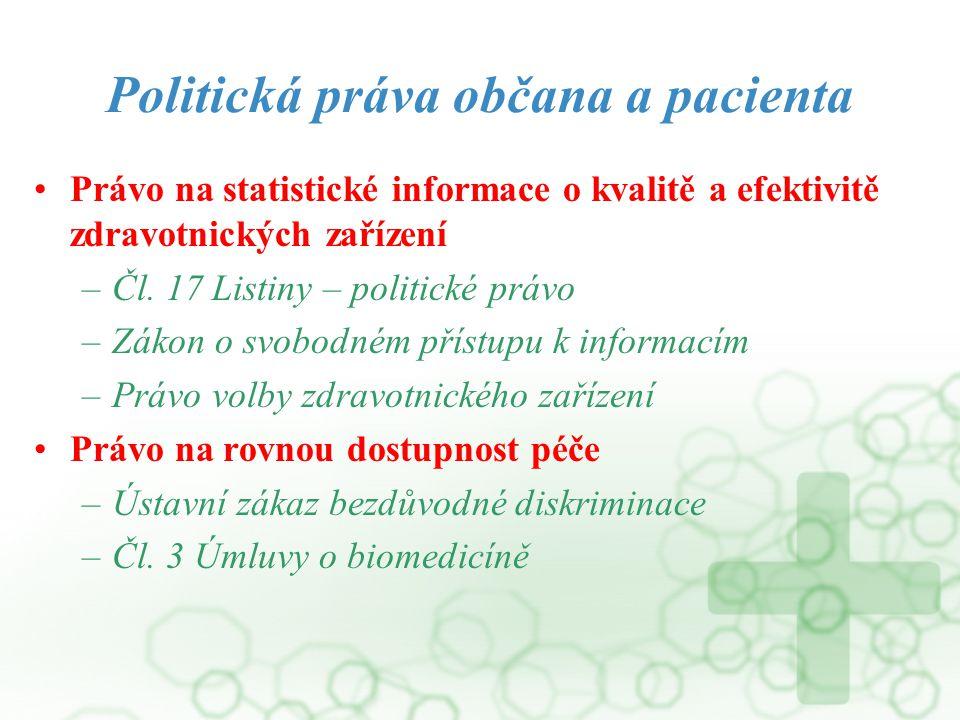 Politická práva občana a pacienta Právo na statistické informace o kvalitě a efektivitě zdravotnických zařízení –Čl. 17 Listiny – politické právo –Zák