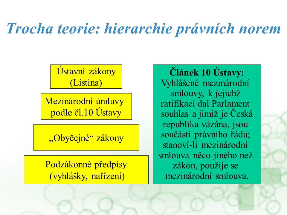 """Trocha teorie: hierarchie právních norem Podzákonné předpisy (vyhlášky, nařízení) """"Obyčejné"""" zákony Mezinárodní úmluvy podle čl.10 Ústavy Ústavní záko"""