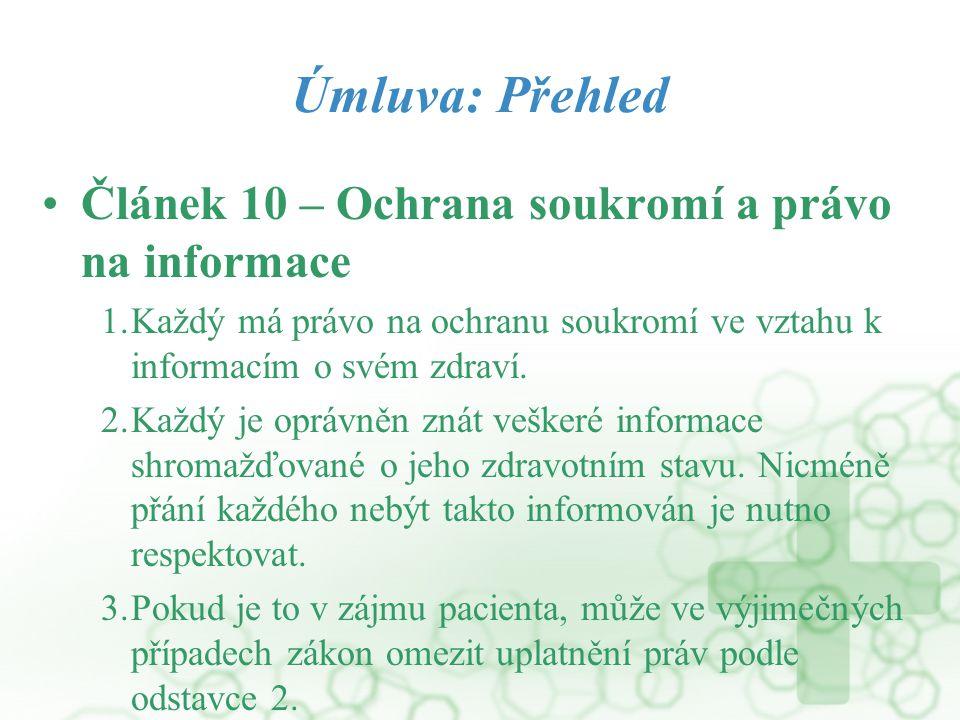 Úmluva: Přehled Článek 10 – Ochrana soukromí a právo na informace 1.Každý má právo na ochranu soukromí ve vztahu k informacím o svém zdraví. 2.Každý j