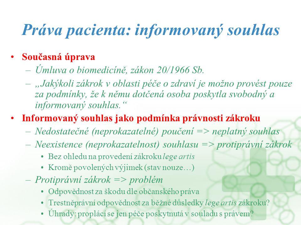 """Práva pacienta: informovaný souhlas Současná úprava –Úmluva o biomedicíně, zákon 20/1966 Sb. –""""Jakýkoli zákrok v oblasti péče o zdraví je možno provés"""