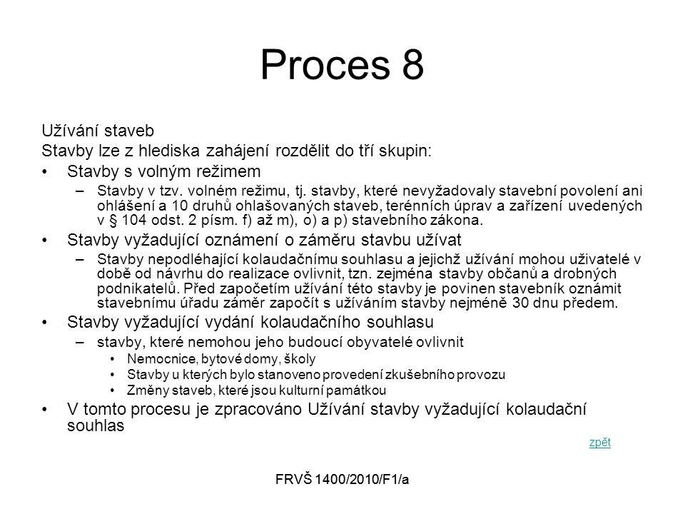 FRVŠ 1400/2010/F1/a Proces 8 Užívání staveb Stavby lze z hlediska zahájení rozdělit do tří skupin: Stavby s volným režimem –Stavby v tzv.