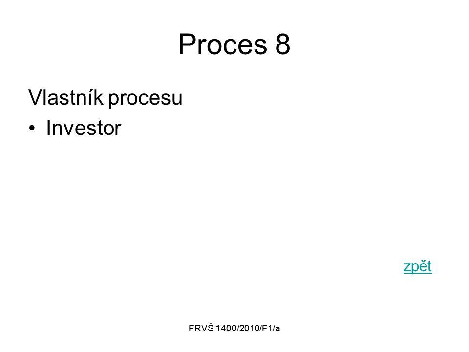 FRVŠ 1400/2010/F1/a Proces 8 Vlastník procesu Investor zpět