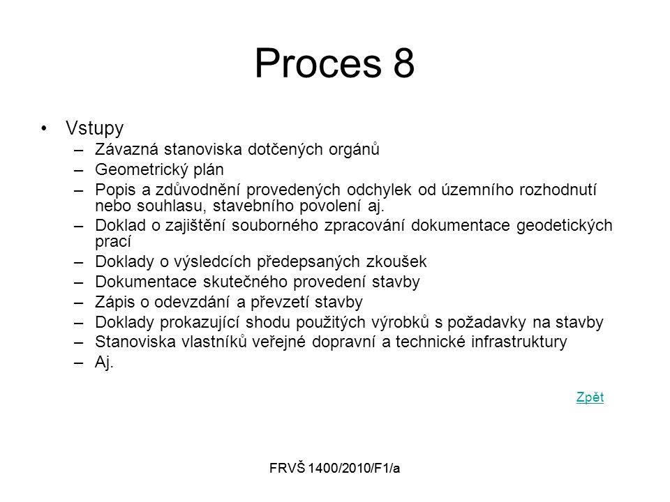 FRVŠ 1400/2010/F1/a Proces 8 Vstupy –Závazná stanoviska dotčených orgánů –Geometrický plán –Popis a zdůvodnění provedených odchylek od územního rozhodnutí nebo souhlasu, stavebního povolení aj.