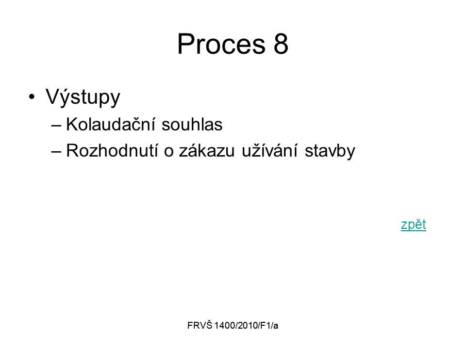 FRVŠ 1400/2010/F1/a Proces 8 Výstupy –Kolaudační souhlas –Rozhodnutí o zákazu užívání stavby zpět