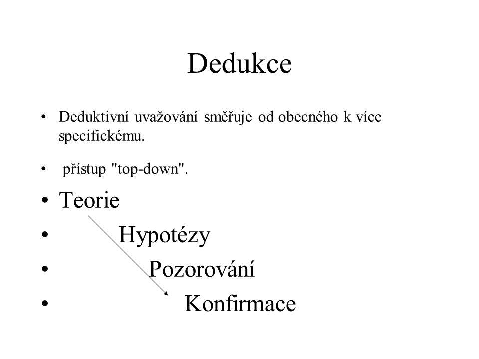 Dedukce Deduktivní uvažování směřuje od obecného k více specifickému.