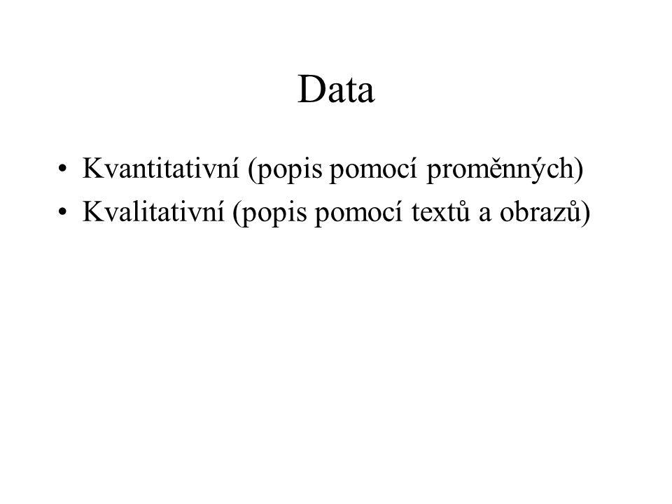 Data Kvantitativní (popis pomocí proměnných) Kvalitativní (popis pomocí textů a obrazů)