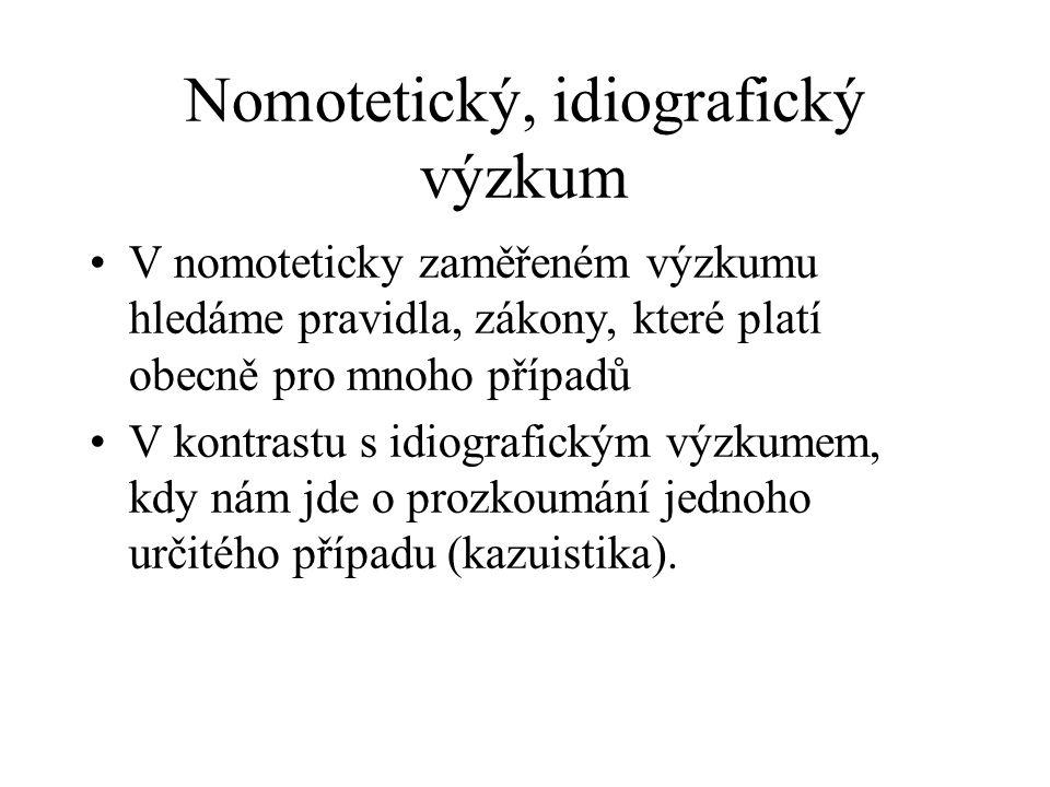 Nomotetický, idiografický výzkum V nomoteticky zaměřeném výzkumu hledáme pravidla, zákony, které platí obecně pro mnoho případů V kontrastu s idiografickým výzkumem, kdy nám jde o prozkoumání jednoho určitého případu (kazuistika).