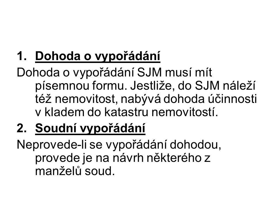 1.Dohoda o vypořádání Dohoda o vypořádání SJM musí mít písemnou formu.
