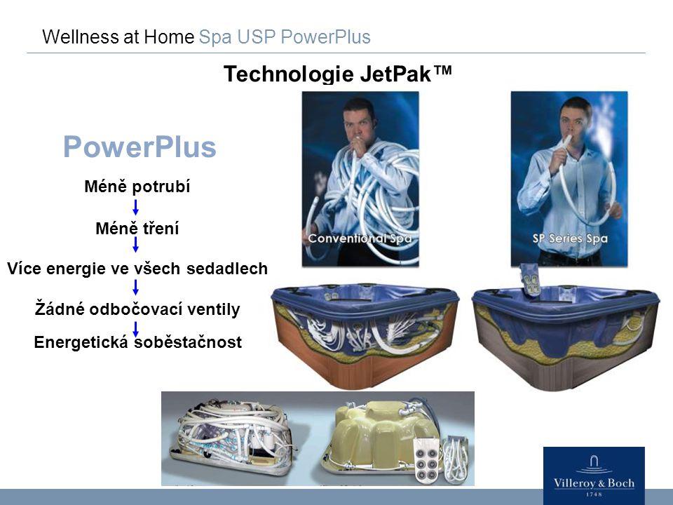 Wellness at Home Spa USP PowerPlus Technologie JetPak™ PowerPlus Méně potrubí Méně tření Více energie ve všech sedadlech Žádné odbočovací ventily Ener