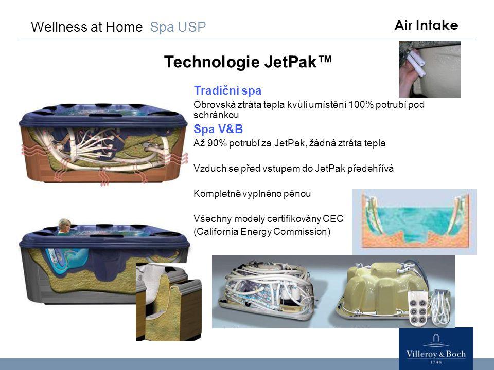 Wellness at Home Spa USP Technologie JetPak™ Tradiční spa Obrovská ztráta tepla kvůli umístění 100% potrubí pod schránkou Spa V&B Až 90% potrubí za Je