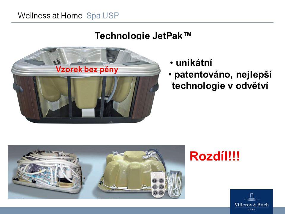 Wellness at Home Spa USP Technologie JetPak™ unikátní patentováno, nejlepší technologie v odvětví Rozdíl!!! Vzorek bez pěny