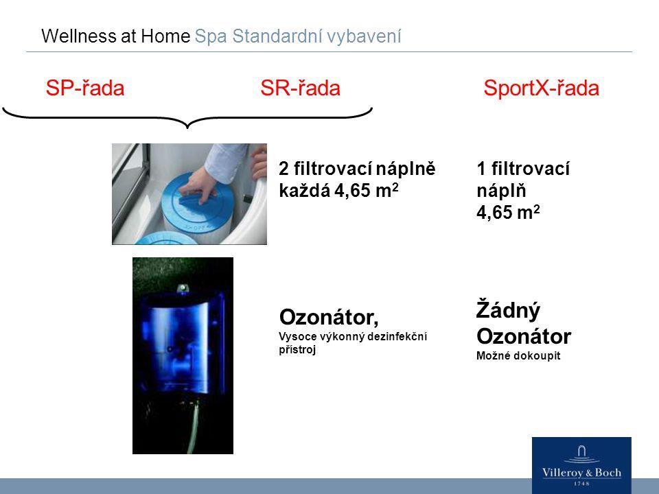 Wellness at Home Spa Standardní vybavení SP-řadaSR-řada 2 filtrovací náplně každá 4,65 m 2 Ozonátor, Vysoce výkonný dezinfekční přístroj SportX-řada 1