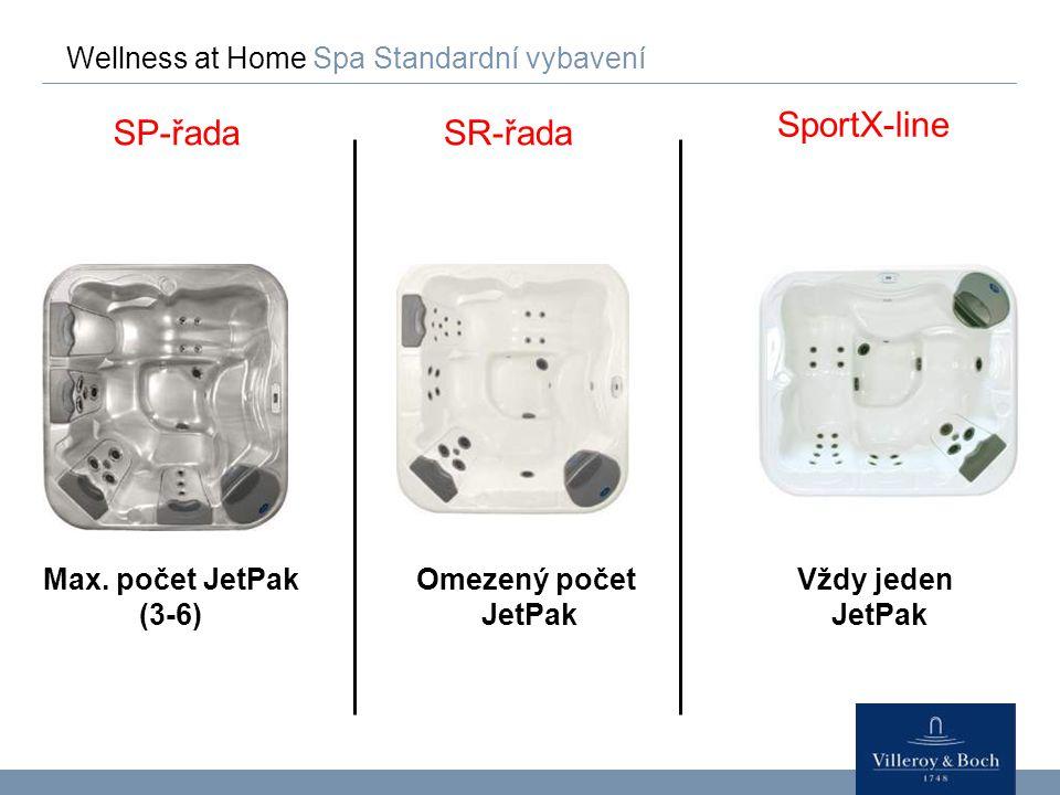 Wellness at Home Spa Standardní vybavení SP-řadaSR-řada Max. počet JetPak (3-6) Omezený počet JetPak SportX-line Vždy jeden JetPak