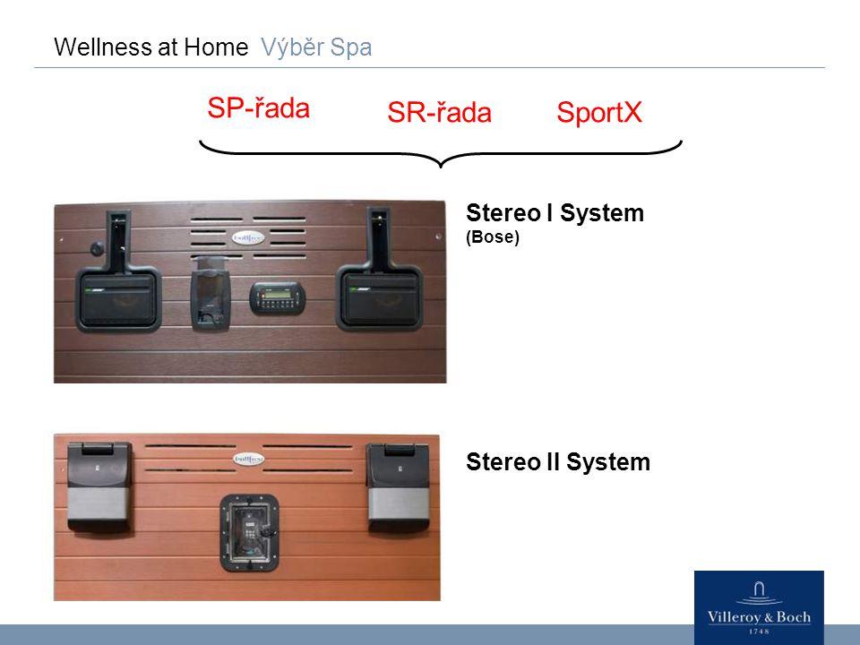Wellness at Home Výběr Spa SP-řada SR-řada Stereo I System (Bose) Stereo II System SportX