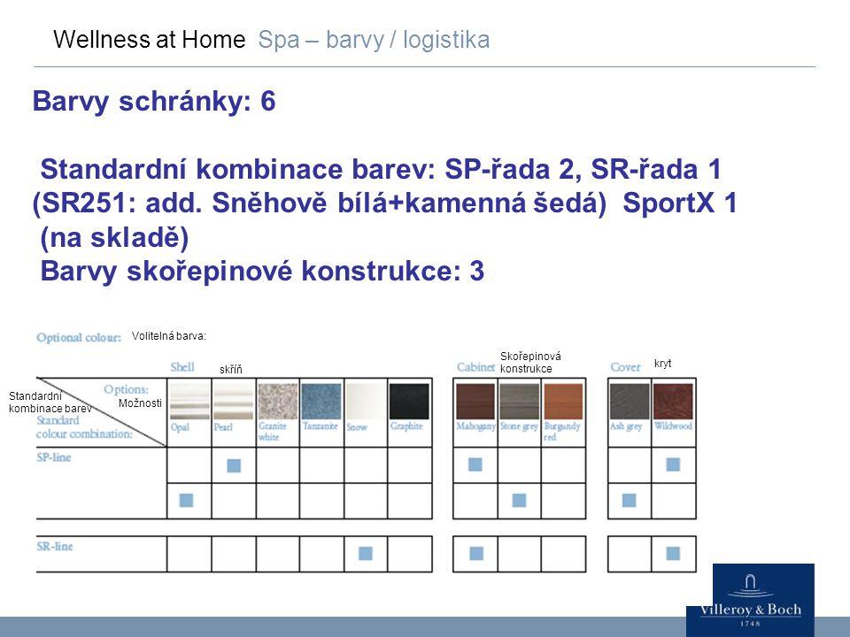 Wellness at Home Spa – barvy / logistika Barvy schránky: 6 Standardní kombinace barev: SP-řada 2, SR-řada 1 (SR251: add. Sněhově bílá+kamenná šedá) Sp