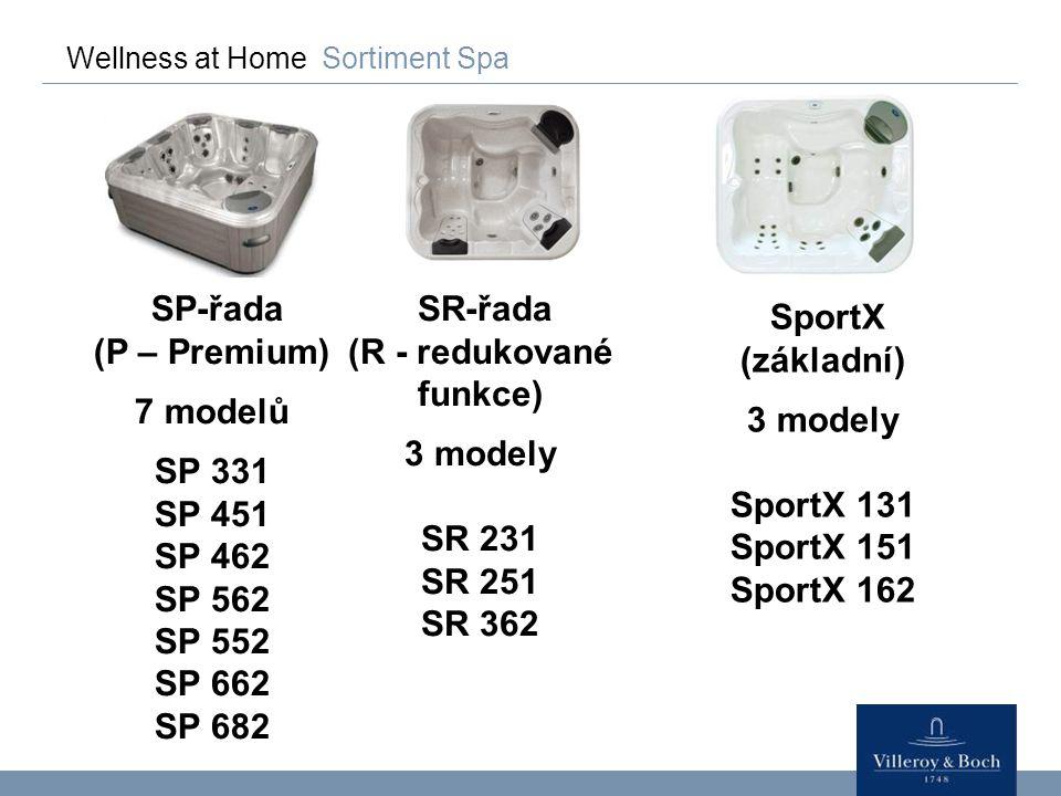 Wellness at Home Sortiment Spa SP-řada (P – Premium) 7 modelů SP 331 SP 451 SP 462 SP 562 SP 552 SP 662 SP 682 SR-řada (R – redukované vlastnosti) 3 modely SR 231 SR 251 SR 362 SportX (základní) 3 modely SportX 131 SportX 151 SportX 162