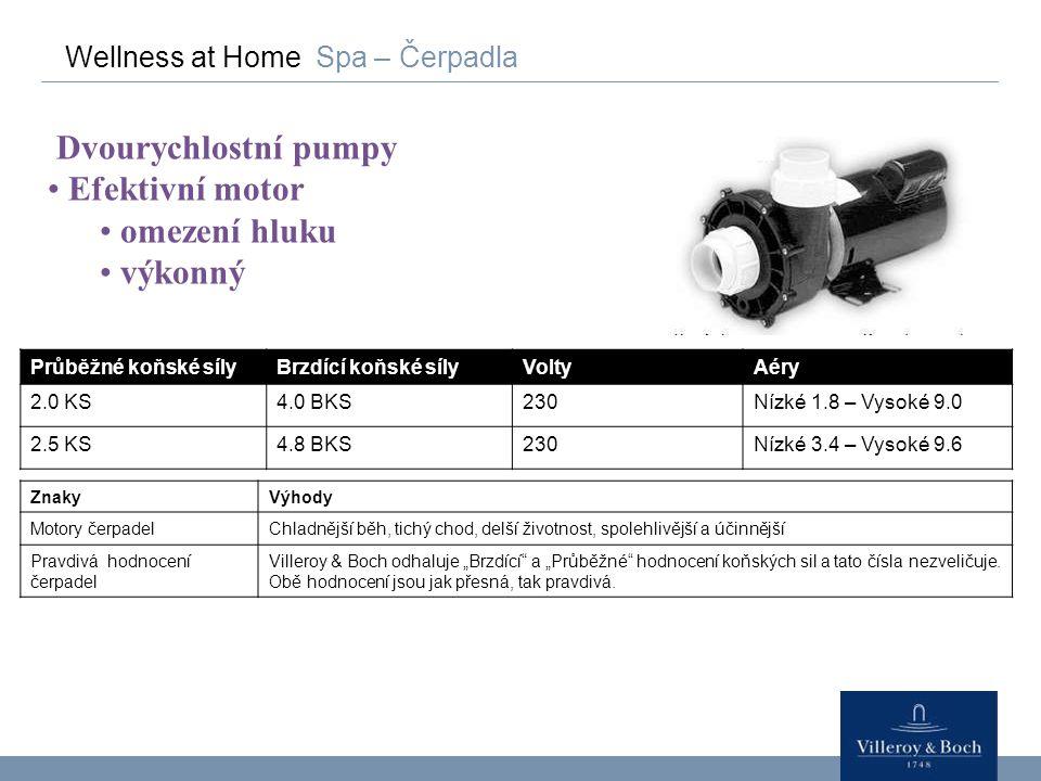 Wellness at Home Spa – Čerpadla Dvourychlostní pumpy Efektivní motor omezení hluku výkonný ZnakyVýhody Motory čerpadelChladnější běh, tichý chod, delš