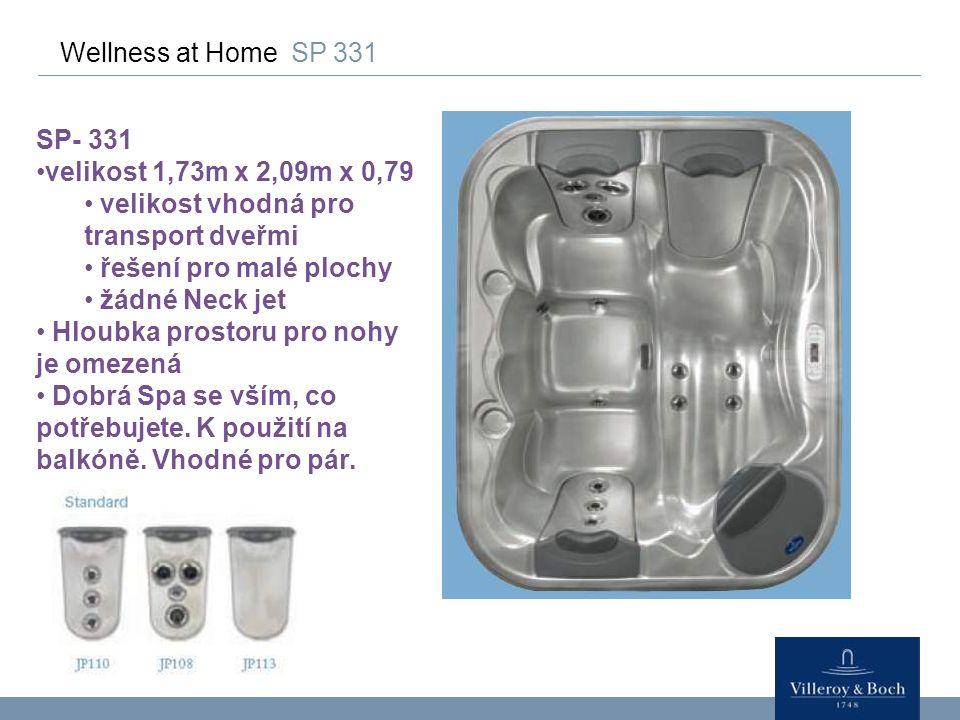 Wellness at Home SP 331 SP- 331 velikost 1,73m x 2,09m x 0,79 velikost vhodná pro transport dveřmi řešení pro malé plochy žádné Neck jet Hloubka prost