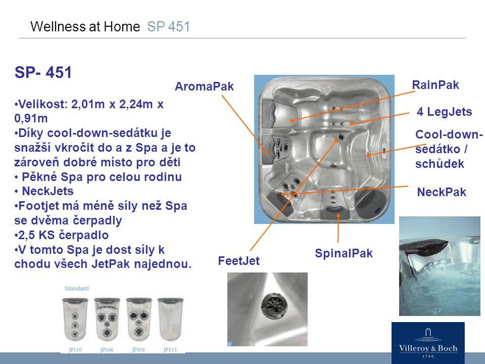 Wellness at Home SP 451 SP- 451 Velikost: 2,01m x 2,24m x 0,91m Díky cool-down-sedátku je snažší vkročit do a z Spa a je to zároveň dobré místo pro dě