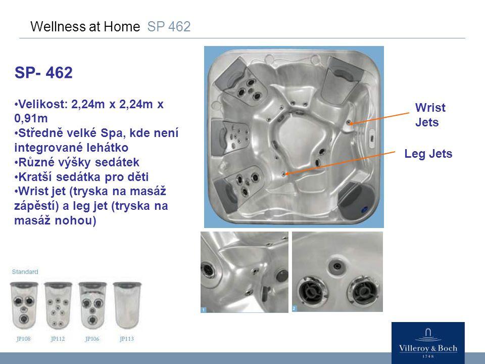 Wellness at Home SP 462 SP- 462 Velikost: 2,24m x 2,24m x 0,91m Středně velké Spa, kde není integrované lehátko Různé výšky sedátek Kratší sedátka pro