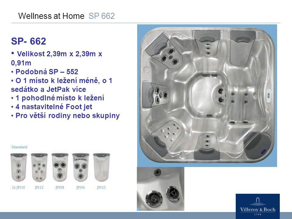 Wellness at Home SP 662 SP- 662 Velikost 2,39m x 2,39m x 0,91m Podobná SP – 552 O 1 místo k ležení méně, o 1 sedátko a JetPak více 1 pohodlné místo k