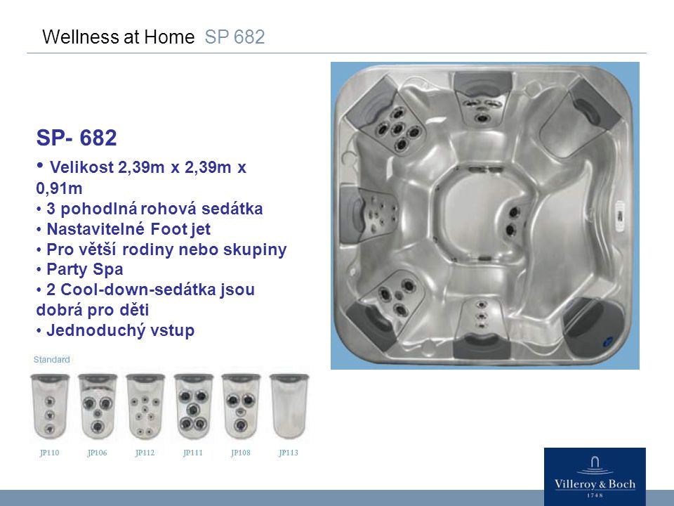 Wellness at Home SP 682 SP- 682 Velikost 2,39m x 2,39m x 0,91m 3 pohodlná rohová sedátka Nastavitelné Foot jet Pro větší rodiny nebo skupiny Party Spa