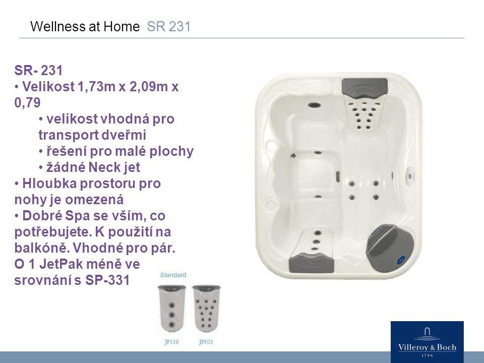 Wellness at Home SR 231 SR- 231 Velikost 1,73m x 2,09m x 0,79 velikost vhodná pro transport dveřmi řešení pro malé plochy žádné Neck jet Hloubka prost