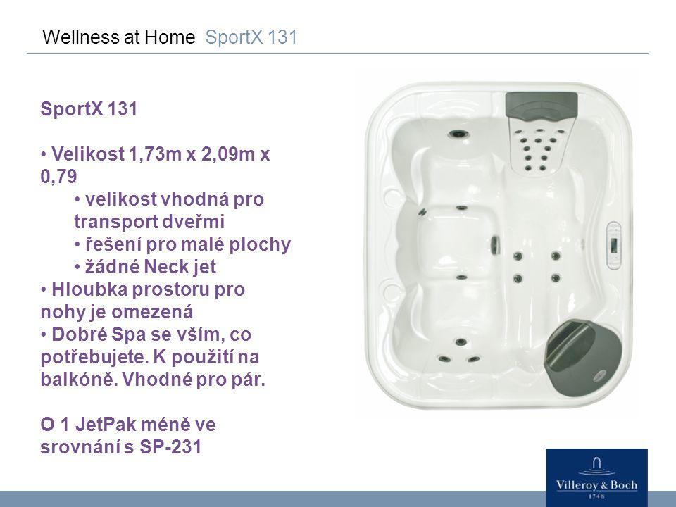 Wellness at Home SportX 131 SportX 131 Velikost 1,73m x 2,09m x 0,79 velikost vhodná pro transport dveřmi řešení pro malé plochy žádné Neck jet Hloubk