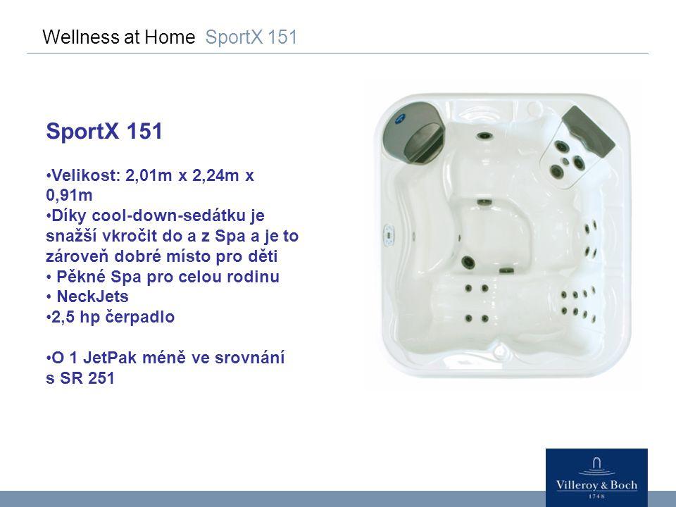 Wellness at Home SportX 151 SportX 151 Velikost: 2,01m x 2,24m x 0,91m Díky cool-down-sedátku je snažší vkročit do a z Spa a je to zároveň dobré místo