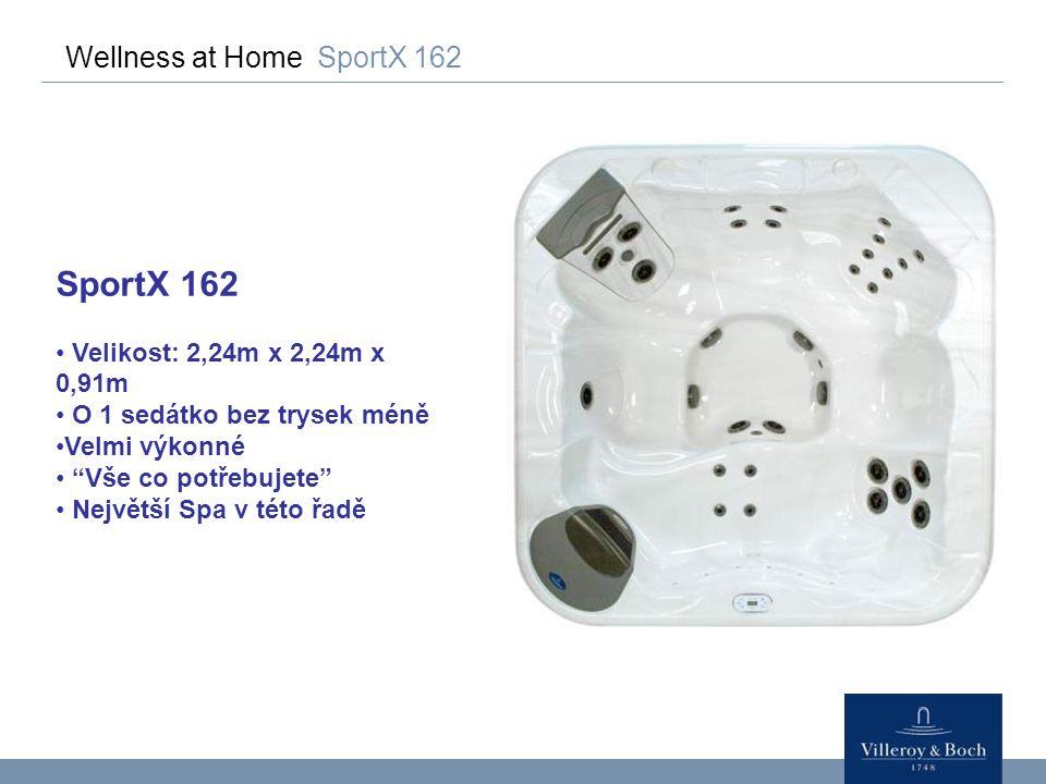 """Wellness at Home SportX 162 SportX 162 Velikost: 2,24m x 2,24m x 0,91m O 1 sedátko bez trysek méně Velmi výkonné """"Vše co potřebujete"""" Největší Spa v t"""