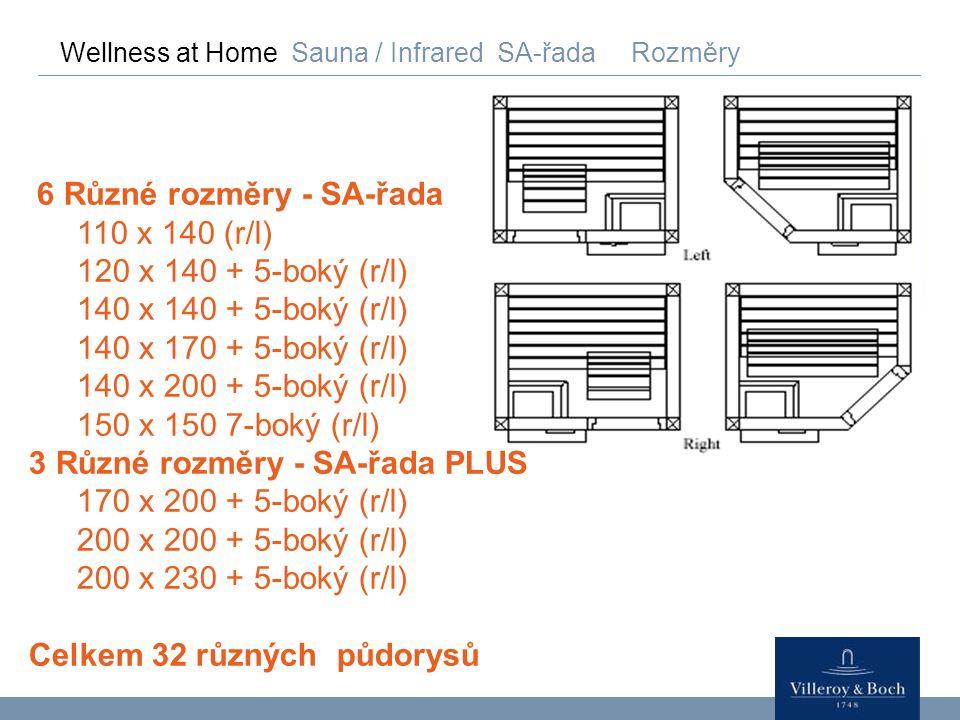 Wellness at Home Sauna / Infrared SA-řada Rozměry 6 Různé rozměry - SA-řada 110 x 140 (r/l) 120 x 140 + 5-boký (r/l) 140 x 140 + 5-boký (r/l) 140 x 17