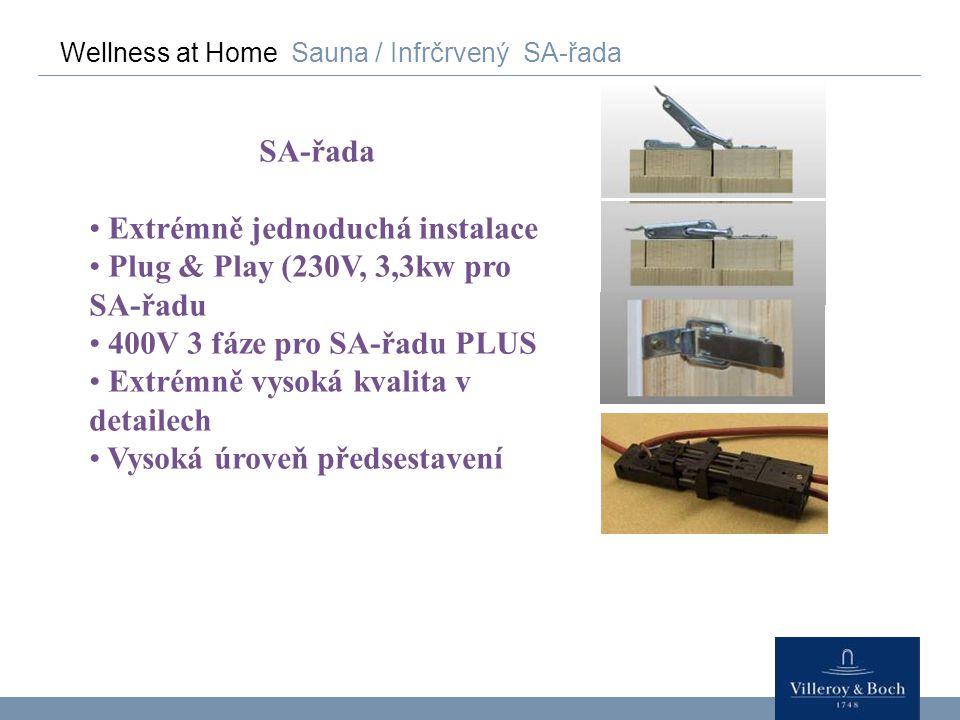 Wellness at Home Sauna / Infrčrvený SA-řada SA-řada Extrémně jednoduchá instalace Plug & Play (230V, 3,3kw pro SA-řadu 400V 3 fáze pro SA-řadu PLUS Ex