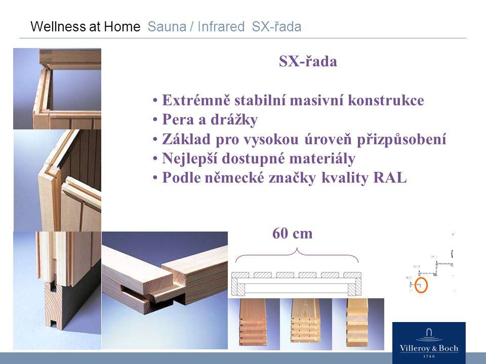 Wellness at Home Sauna / Infrared SX-řada SX-řada Extrémně stabilní masivní konstrukce Pera a drážky Základ pro vysokou úroveň přizpůsobení Nejlepší d