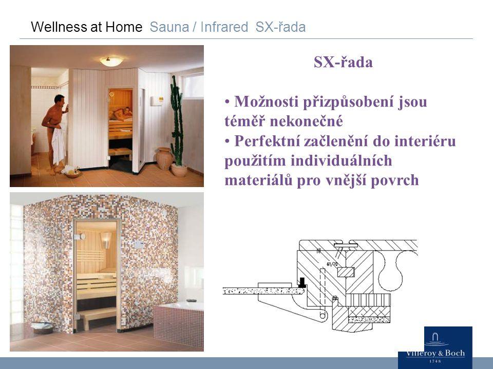 Wellness at Home Sauna / Infrared SX-řada SX-řada Možnosti přizpůsobení jsou téměř nekonečné Perfektní začlenění do interiéru použitím individuálních