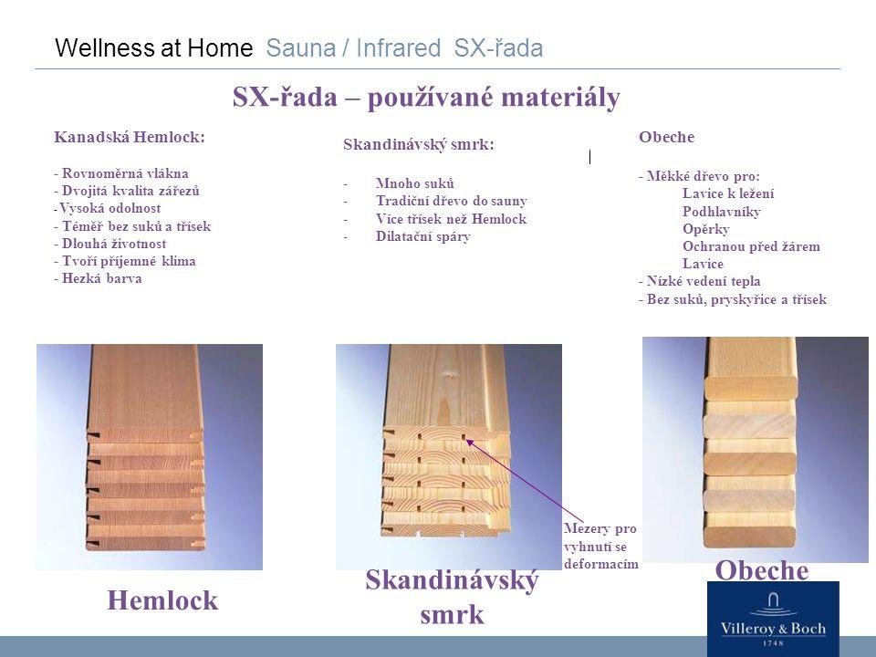 Wellness at Home Sauna / Infrared SX-řada SX-řada – používané materiály Hemlock Obeche Skandinávský smrk Mezery pro vyhnutí se deformacím Kanadská Hem