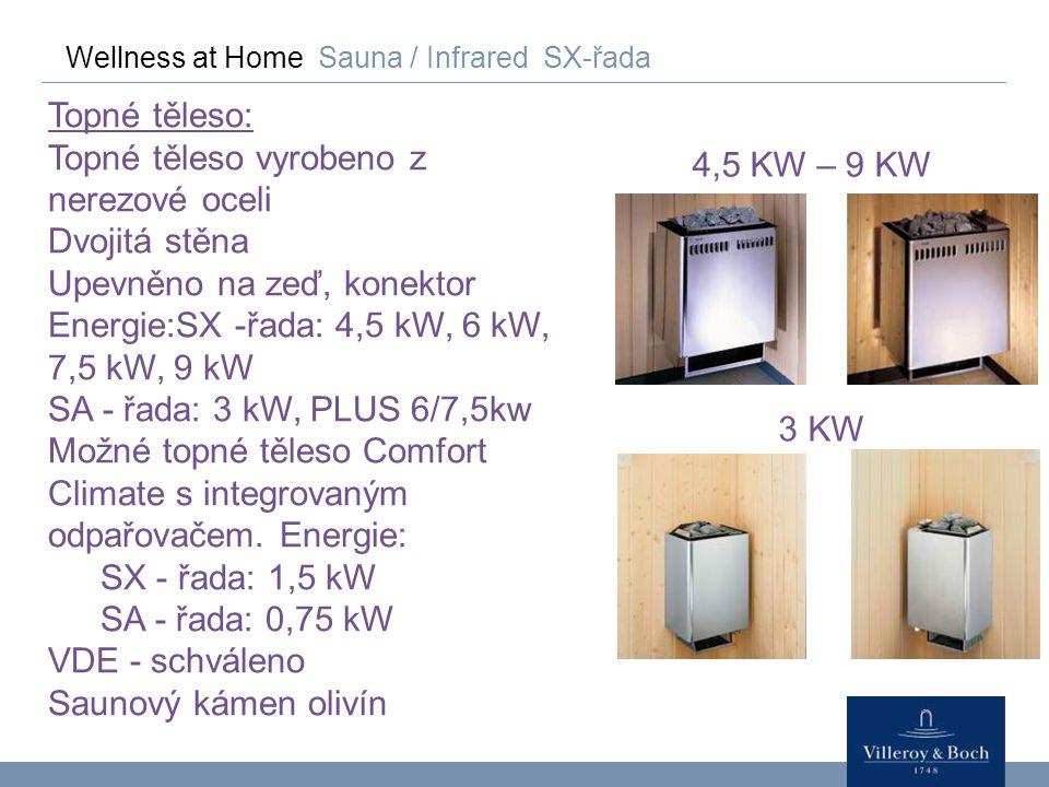 Wellness at Home Sauna / Infrared SX-řada Topné těleso: Topné těleso vyrobeno z nerezové oceli Dvojitá stěna Upevněno na zeď, konektor Energie:SX -řad