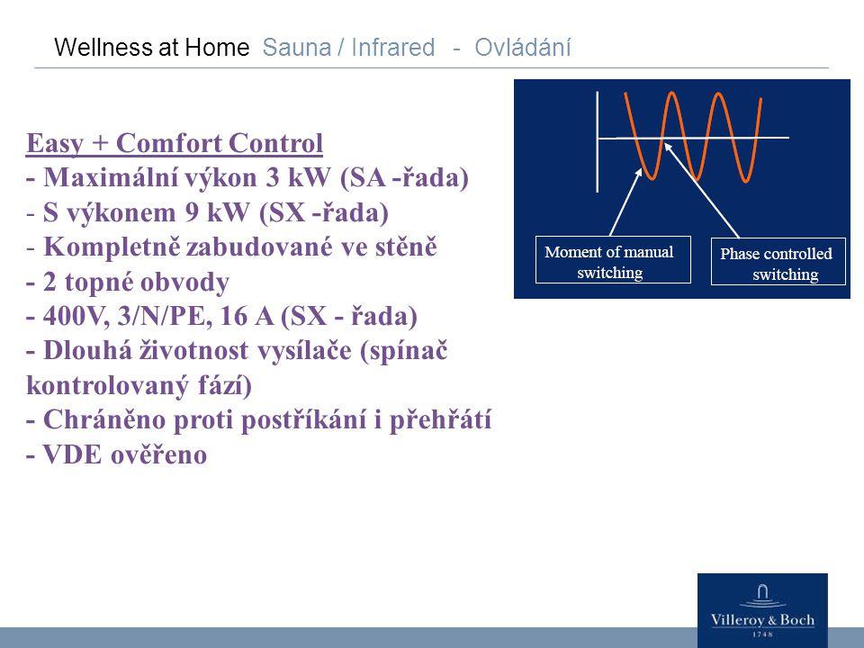 Wellness at Home Sauna / Infrared - Ovládání Easy + Comfort Control - Maximální výkon 3 kW (SA -řada) - S výkonem 9 kW (SX -řada) - Kompletně zabudova