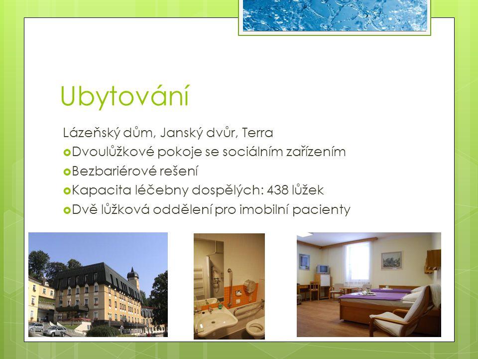 Ubytování Lázeňský dům, Janský dvůr, Terra  Dvoulůžkové pokoje se sociálním zařízením  Bezbariérové rešení  Kapacita léčebny dospělých: 438 lůžek 