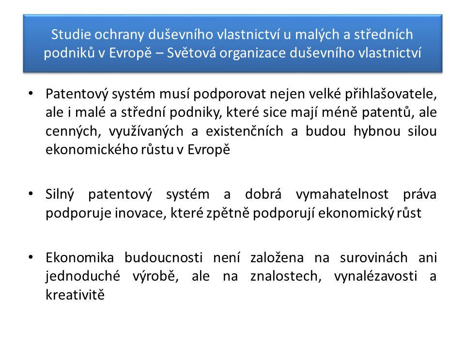 Studie ochrany duševního vlastnictví u malých a středních podniků v Evropě – Světová organizace duševního vlastnictví Patentový systém musí podporovat nejen velké přihlašovatele, ale i malé a střední podniky, které sice mají méně patentů, ale cenných, využívaných a existenčních a budou hybnou silou ekonomického růstu v Evropě Silný patentový systém a dobrá vymahatelnost práva podporuje inovace, které zpětně podporují ekonomický růst Ekonomika budoucnosti není založena na surovinách ani jednoduché výrobě, ale na znalostech, vynalézavosti a kreativitě