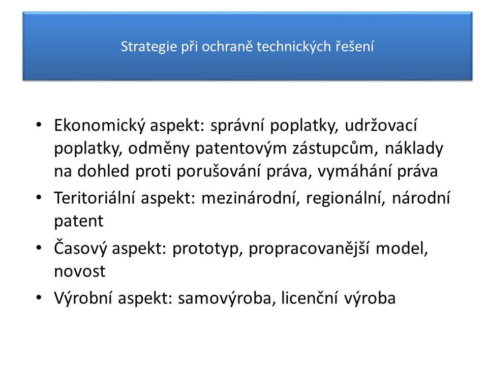 Strategie ochrany technických řešení Ekonomický aspekt: správní poplatky, udržovací poplatky, odměny patentovým zástupcům, náklady na dohled proti por