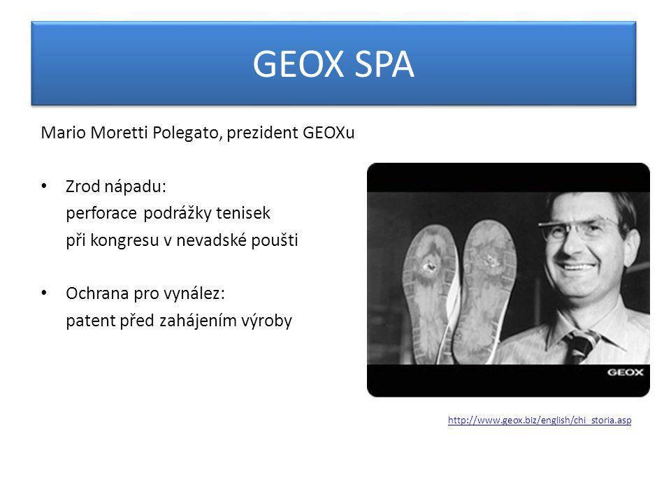 GEOX SPA Mario Moretti Polegato, prezident GEOXu Zrod nápadu: perforace podrážky tenisek při kongresu v nevadské poušti Ochrana pro vynález: patent před zahájením výroby http://www.geox.biz/english/chi_storia.asp