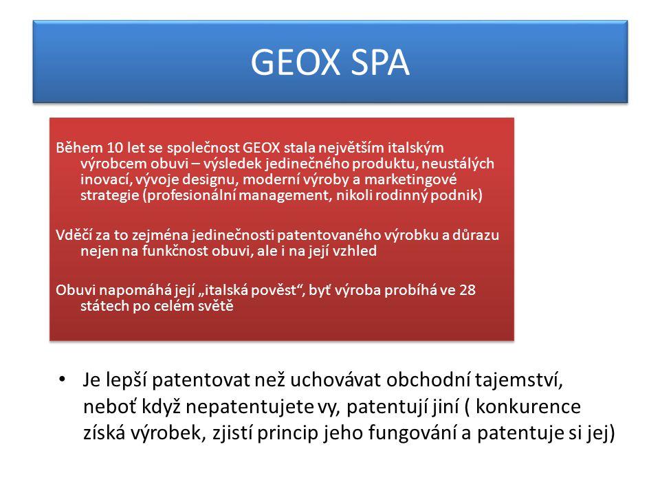 """GEOX SPA Během 10 let se společnost GEOX stala největším italským výrobcem obuvi – výsledek jedinečného produktu, neustálých inovací, vývoje designu, moderní výroby a marketingové strategie (profesionální management, nikoli rodinný podnik) Vděčí za to zejména jedinečnosti patentovaného výrobku a důrazu nejen na funkčnost obuvi, ale i na její vzhled Obuvi napomáhá její """"italská pověst , byť výroba probíhá ve 28 státech po celém světě Během 10 let se společnost GEOX stala největším italským výrobcem obuvi – výsledek jedinečného produktu, neustálých inovací, vývoje designu, moderní výroby a marketingové strategie (profesionální management, nikoli rodinný podnik) Vděčí za to zejména jedinečnosti patentovaného výrobku a důrazu nejen na funkčnost obuvi, ale i na její vzhled Obuvi napomáhá její """"italská pověst , byť výroba probíhá ve 28 státech po celém světě Je lepší patentovat než uchovávat obchodní tajemství, neboť když nepatentujete vy, patentují jiní ( konkurence získá výrobek, zjistí princip jeho fungování a patentuje si jej)"""