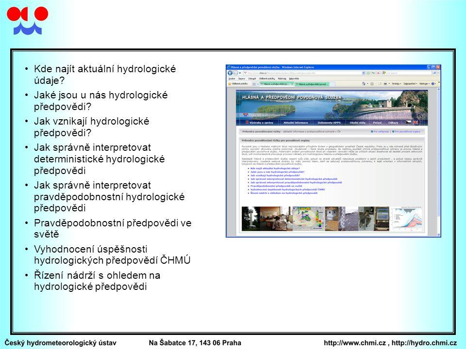 Kde najít aktuální hydrologické údaje? Jaké jsou u nás hydrologické předpovědi? Jak vznikají hydrologické předpovědi? Jak správně interpretovat determ