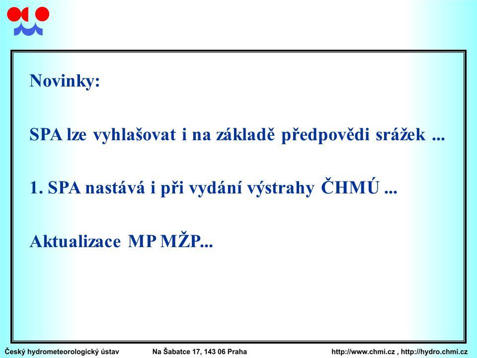 Novinky: SPA lze vyhlašovat i na základě předpovědi srážek... 1. SPA nastává i při vydání výstrahy ČHMÚ... Aktualizace MP MŽP...