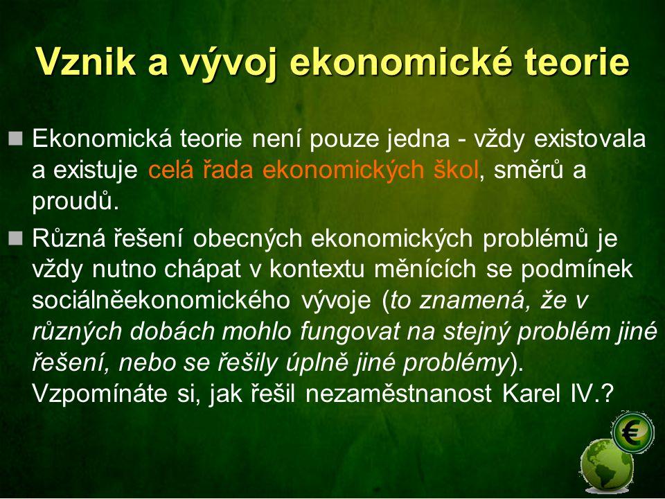 Vznik a vývoj ekonomické teorie Ekonomická teorie není pouze jedna - vždy existovala a existuje celá řada ekonomických škol, směrů a proudů.