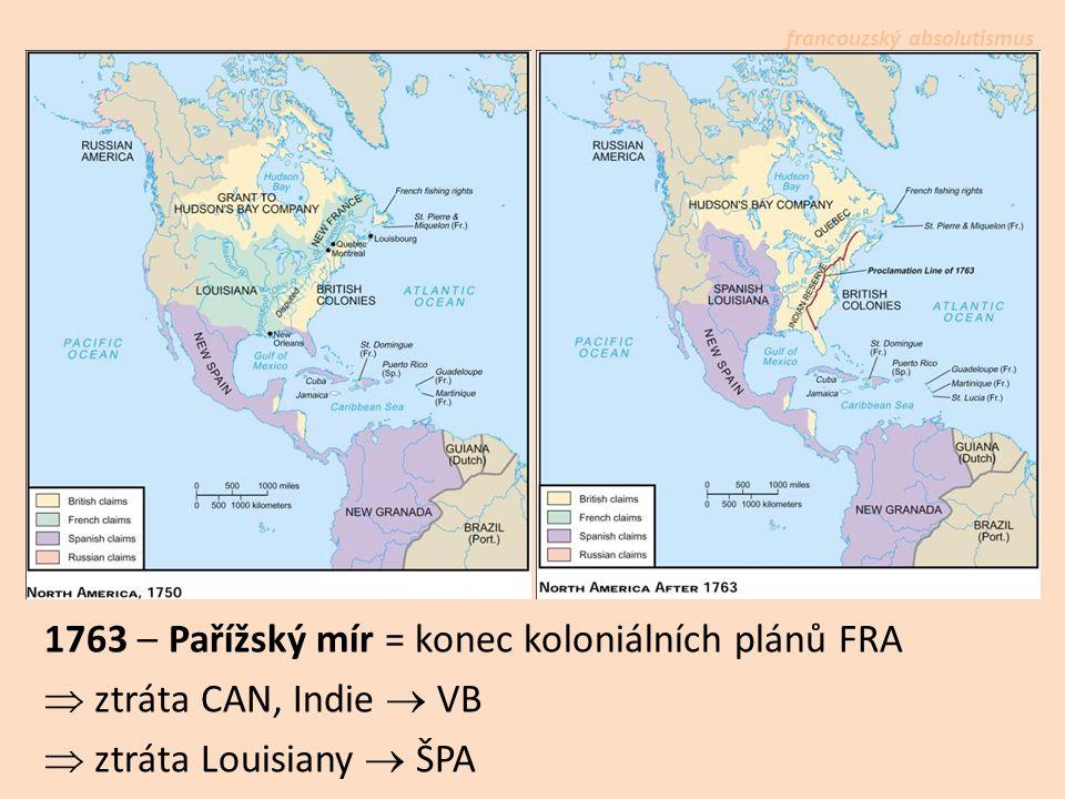 francouzský absolutismus 1763 – Pařížský mír = konec koloniálních plánů FRA  ztráta CAN, Indie  VB  ztráta Louisiany  ŠPA