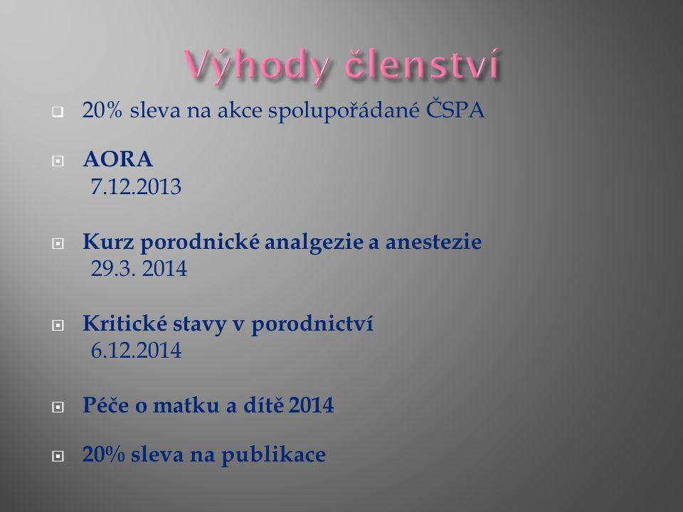  20% sleva na akce spolupořádané ČSPA  AORA 7.12.2013  Kurz porodnické analgezie a anestezie 29.3.